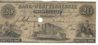 Tennessee Memphis Bank Of West Tennessee $20 1858 Red Reverse Punch Cnl.  73 photo