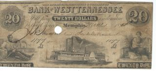 Tennessee Memphis Bank Of West Tennessee $20 1858 Red Reverse Punch Cnl.  1177 photo