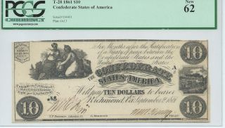 Csa 1861 Confederate Currency T28 $10 Bank Note Pcgs62 Cr230 Plate A13 114431 photo