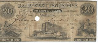 Tennessee Memphis Bank Of West Tennessee $20 1858 Red Reverse Punch Cnl.  822 photo