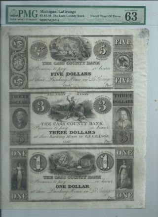 Michigan Lagrange Cass County Bank Note Uncut Sheet $1 $3 $5 Pmg Grade Currency photo