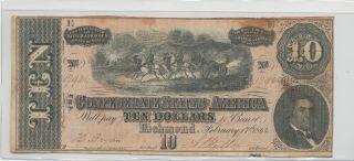 T - 68 Pf - 13 $10 Confederate Paper Money photo