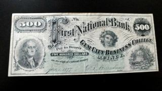 Rare $500 First Nat ' L Bank Of Gem City Business College Quincy,  Ill photo