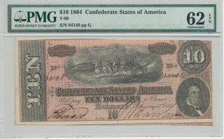 T - 68 Pf - 44 $10 Confederate Paper Money photo