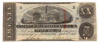 1863 $20 T - 58 The Confederate States Of America Civil War Era photo