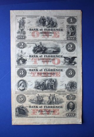 1856 Omaha Bank Florence Uncut Uncirc Sheet $1 $2 $3 $5 Notes Wildcat Mormon Lds photo