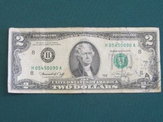 Series 1976 Two Dollar Bill Serial H 05450090 A photo