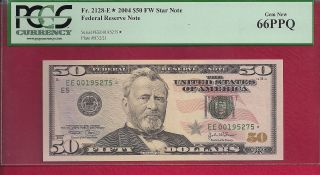 2004 $50 Fw Star Federal Reserve Note Fr.  2128e Pcgs 66ppq photo