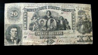 Rare Ist Series 1861 Richmond Va.  Csa Confederate $20 Dollar Note photo