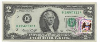 1976 $2 Frn Postmarked First Day Of Issue Fdi Note Kenvil Nj photo