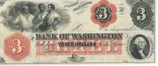 North Carolina Bank Of Washington $3 Note 1862 Not Signed Red Overprint Note 1 photo