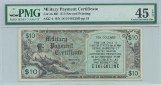 Series 481 $10 Dollar Military Payment Certificate Mpc Rare Note Pmg45epq 139d photo