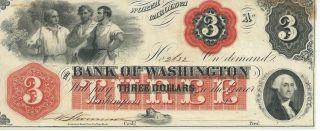 North Carolina Bank Of Washington $3 Note 1862 Signed Red Overprint 2632 photo