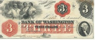 North Carolina Bank Of Washington $3 Note 1862 Signed Red Overprint 2633 photo
