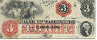 North Carolina Bank Of Washington $3 Note 1862 Not Signed Red Overprint Note 2 photo