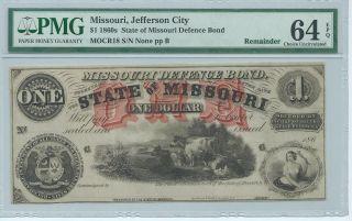 Missouri Defence Bond Jefferson City $1 186x Not Signed Watermark Pmg64 photo