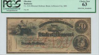 Missouri Defence Bond Jefferson City $20 186x Not Signed Red Overprint Pmg63 photo