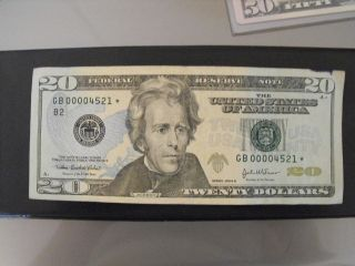 2004a $20 Frn Low 4 Digit Serial Number Star Note + Minor Ink Smear Error photo