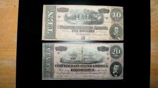 Scarce Combo 1864 Csa $20 &10
