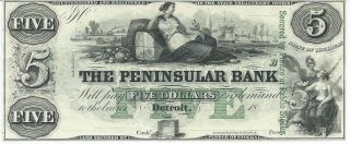 Obsolete Currency Michigan Detroit Peninsular Bank $5 18xx G8c Unissued Xf Note photo