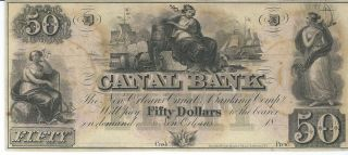 Obsolete Currency Louisiana Canal Bank N.  O.  Unissued $50 18xx Chcu Old D photo