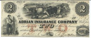 Obsolete Currency Michigan Adrian Insure Co $2 18xx A82 7597 Issued/no Date Unc photo