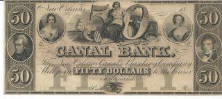 Obsolete Currency Louisiana Canal Bank N.  O.  Unissued $50 18xx Chcu G46a Plate C photo
