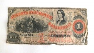 Rare 1861 Augusta Insurance & Banking,  Georgia $1 Bank Note Lucy Pickens photo