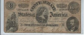 $100 Confederate States Of America Note Datedfeb 1864 Type 68 S/n 19305 photo
