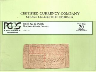 1764 Jersey Colonial Currency 15 Shillings Pcgs Very Fine 12 Early History photo