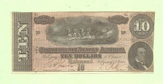 1864 $10 Confederate Currency Note T - 68 History Uncirculated Affordable photo