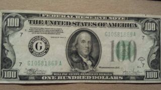 1934 C Federal Reserve Note $100 Chicago photo