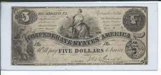 $5 Confederate States Of America Note Dated September 2,  1861 S/n 18??? photo
