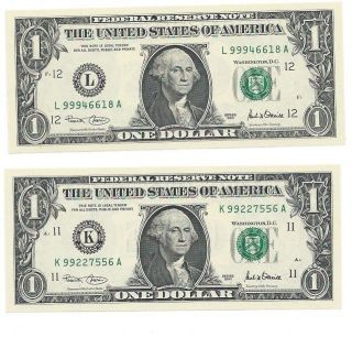 Two $1 2001 F.  R.  N.  ' S Dallas & S.  F.  Gem Cu High Number Notes From Sheets photo