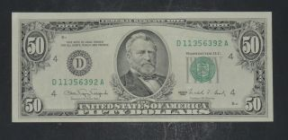 1990 $50 Fifty Dollar Bill,  Federal Reserve Note,  Ohio S D11356392a photo