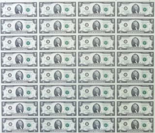 2009 $2 Uncut Sheet 32 Subject Two Dollar Bills United States Currency Money photo