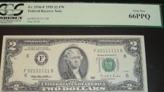 1995 $2 Federal Reserve Note With Fancy Serial 22111111 In Pcgs Gem 66ppq photo