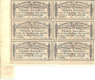 Civil War,  Confederate $1000 Bond Interest Receipt Block Of 6 $30.  00 photo