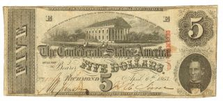 $5 1863 The Confederate States Of America Richmond More Currency 4 +a photo