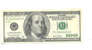 2003a $100 Hundred Dollar Note Us Bill Rare Almost Solid Serial Fl 11111211 C photo