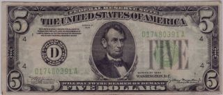 1934 $5 Dark Green Seal Federal Reserve Note Very Fine Cleveland District photo
