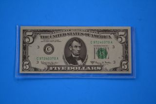 One 1963 A Uncirculated $5.  00 Fowler Note photo