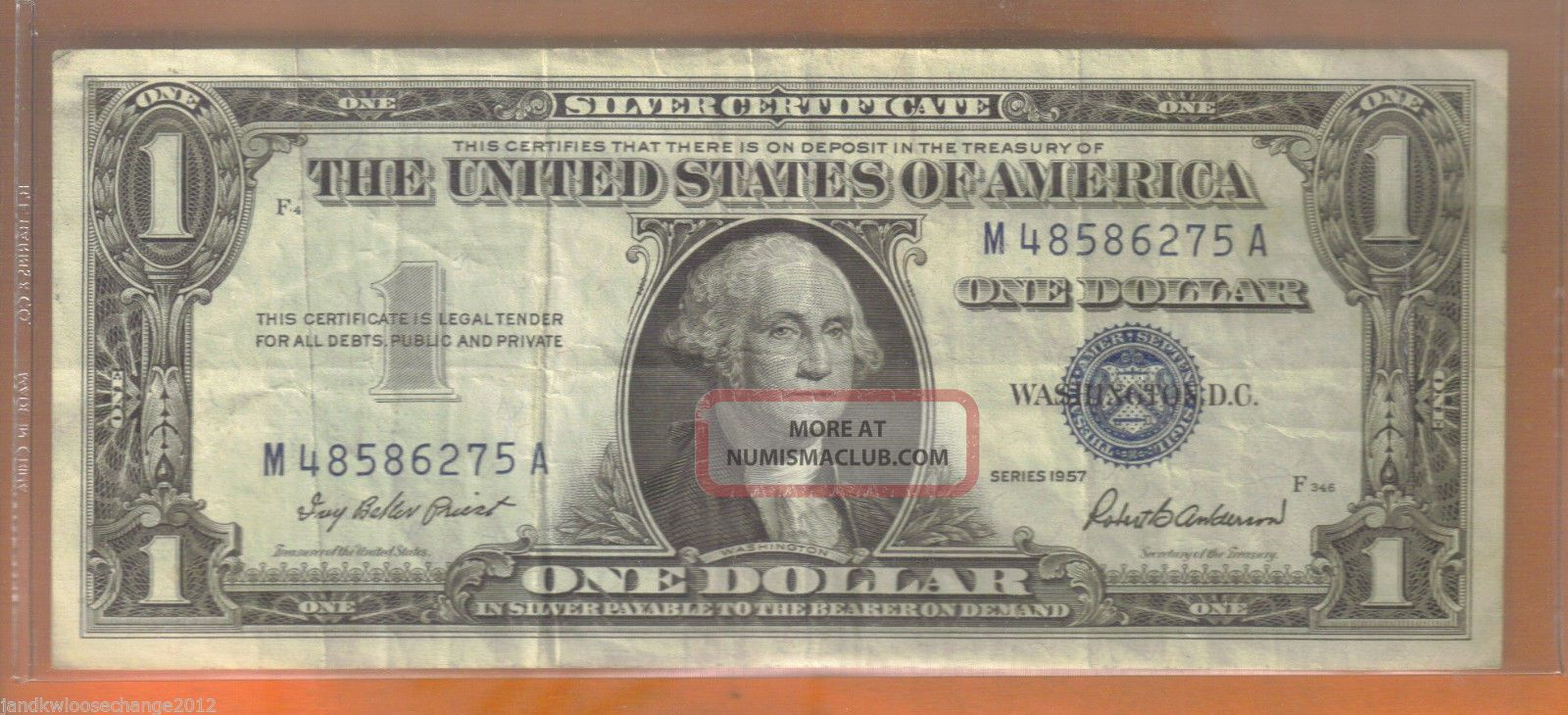 1957 $1.  00 Blue Seal Silver Certificate Small Size Notes photo