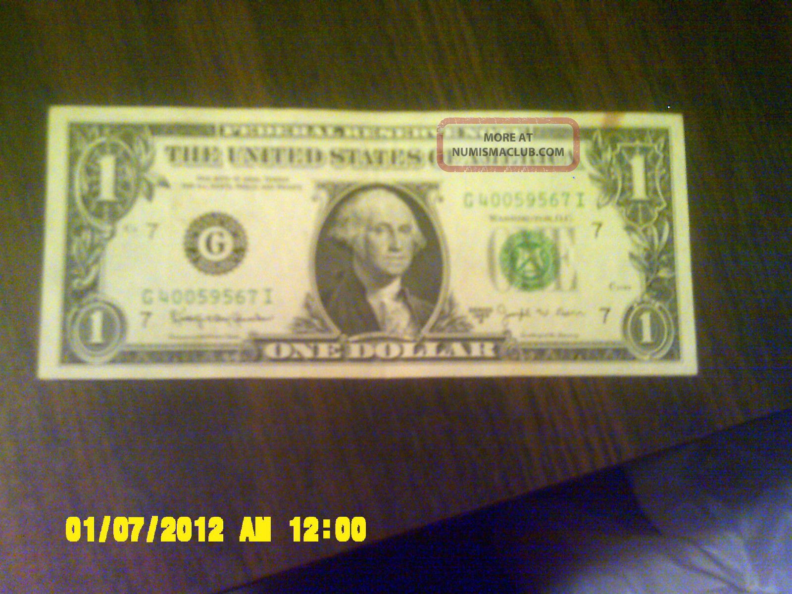 Uncirculated 1974 One Dollar Federal Reserve Note Serial G40059567i Chicago Small Size Notes photo