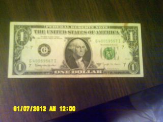Uncirculated 1974 One Dollar Federal Reserve Note Serial G40059567i Chicago photo