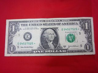 2003 United States One Dollar Bill (e04527525) Star Note Lot185 photo