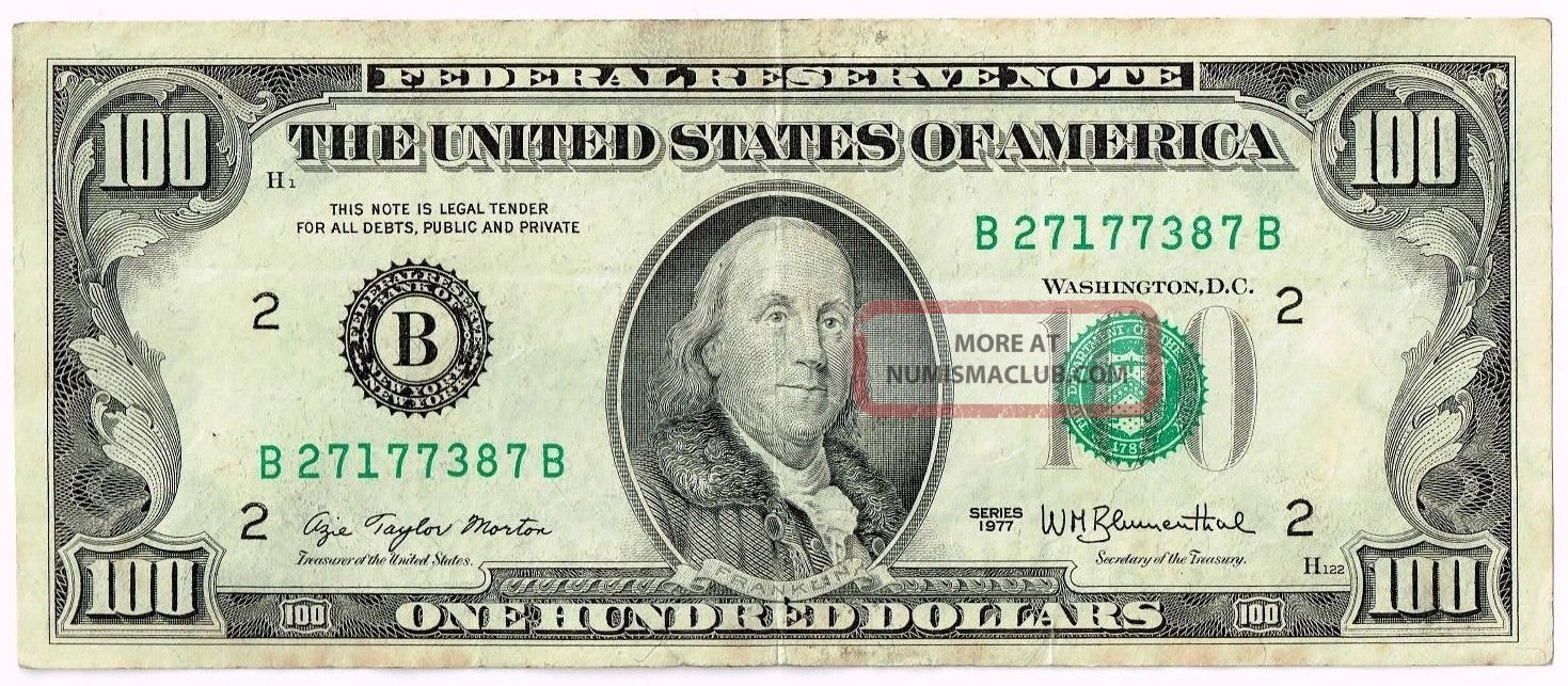 $100 Dollar Bill, 1977 Series, Bank Of York, Federal Reserve Note