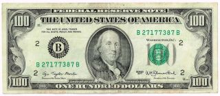 $100 Dollar Bill,  1977 Series,  Bank Of York,  Federal Reserve Note photo