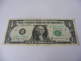 1963 B $1 Uncirculated Federal Reserve Note B 95575884 G Joseph W.  Barr photo