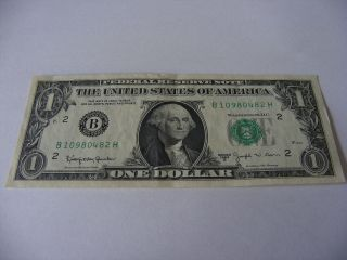 1963 B $1 Uncirculated Federal Reserve Note B 10980482 H Joseph W.  Barr photo